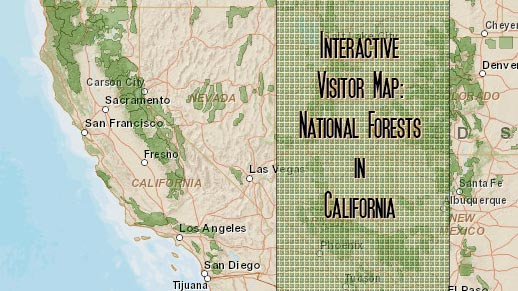 Interactive visitor map of national forests in California.