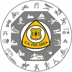 Universal symbols of recreation activities arranged in a circle with Fee Sign at center