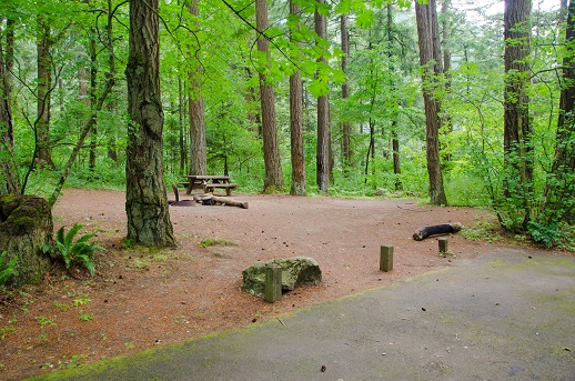 A camp site at Eagle Creek Campground