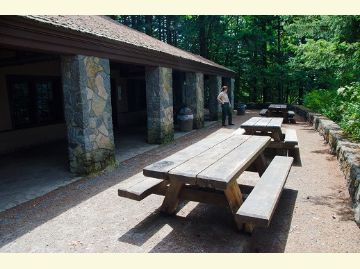 Exterior of covered picnic shelter area at Eagle Creek Overlook Group Campground