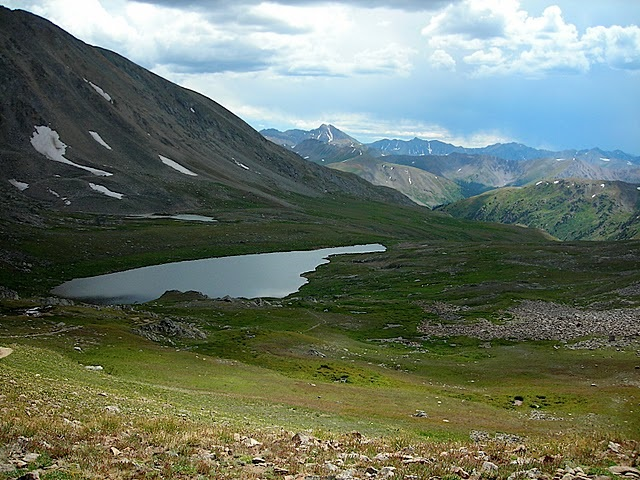 Alpine lake and meadow in Hunter Frying Pan Wilderness