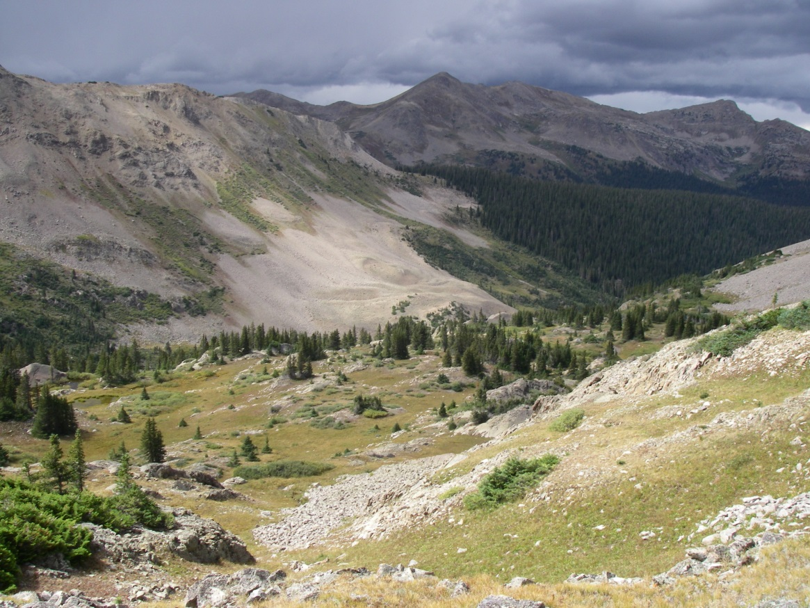 Rocky and sloped river valley in Collegiate Peaks Wilderness