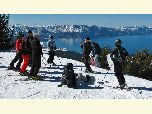 Ranger Megan chats with a group of skiers at Heavenly Mountain Resort during Ski with a Ranger.