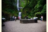 Multnomah Falls viewing area with Benson Bridge in view.