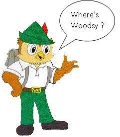 Woodsy owl with his hand up and speech bubble that  says Where's Woodsy