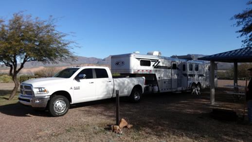 Truck and horse trailer at Fraizer Campground