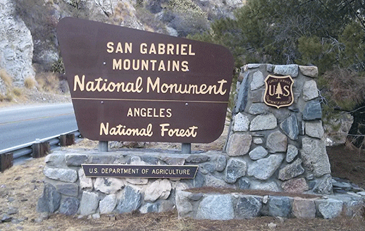 Outdoor sign of San Gabriel Mtns. National Monument