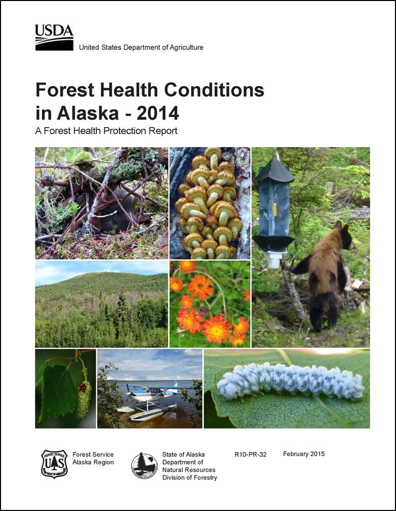 Report cover showing wooly sawfly, float plane, orange hawkweed, a lingren insect trap and more.