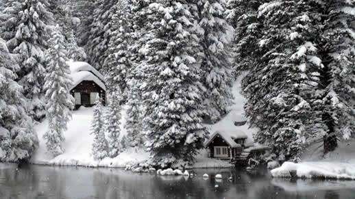 Big Spring cabin in the winter snow