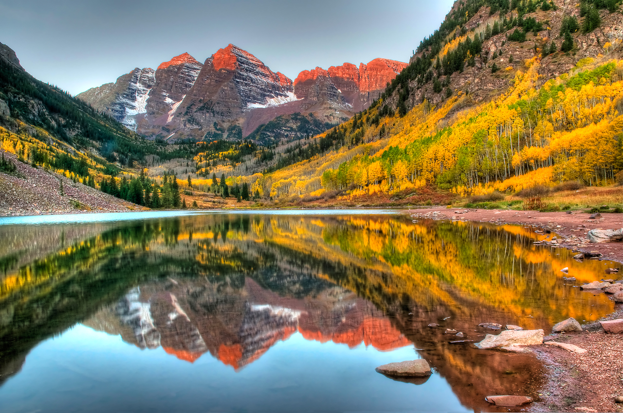 North & South Maroon reflecting on to Maroon Lake