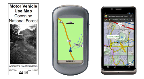 Graphic showing the MVUM, a GPS, and a mobile phone