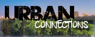 "trees and city landscape with the words ""urban connections""."