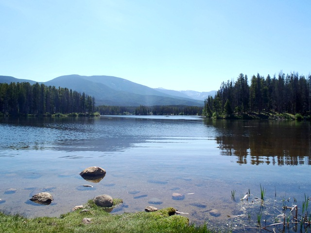 view of lake from pine beach picnic area