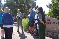 Forest Service and NPS volunteers provide a guided walk at Walnut Canyon National Monument