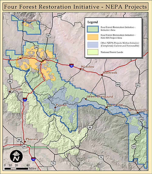 Initiative boundary, 1st EIS, and Other Restoration Projects