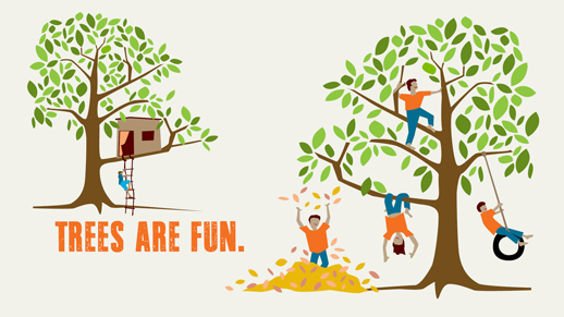 Illustration of children playing in a pile of leaves and climbing a tree, also a tree house
