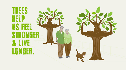 Illustration of an elderly couple walking inbetween two trees that are flexing their muscles & a dog