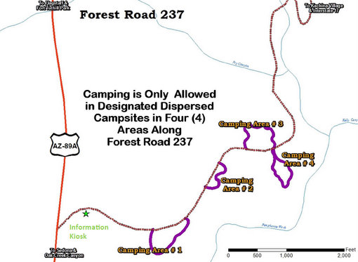Map of the FR 237 Pumphouse Wash Dispersed Camping Area