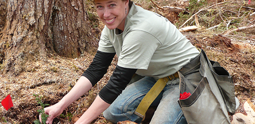 Sheila Spores plants trees on Prince of Wales Island.