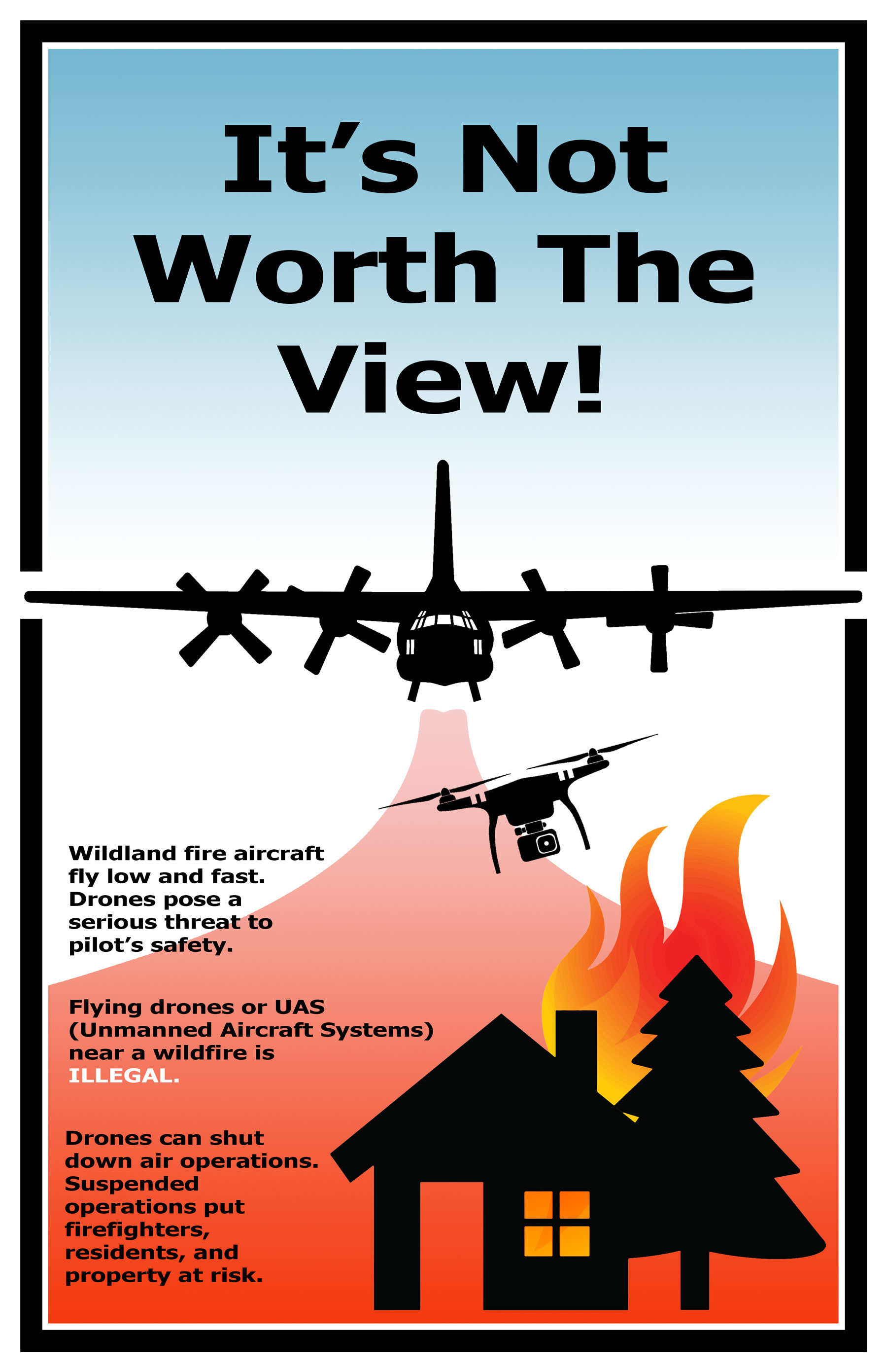 Poster warning about dangers of flying drones near wildfires