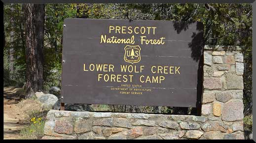 Entrance sign to Lower Wolf Creek Campground