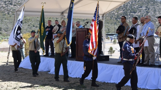 The Southern Paiute Veterans Association Color Guard and United States Air Force Honor Guard from Nellis AFB presented the colors at the grand opening 10 a.m. program.
