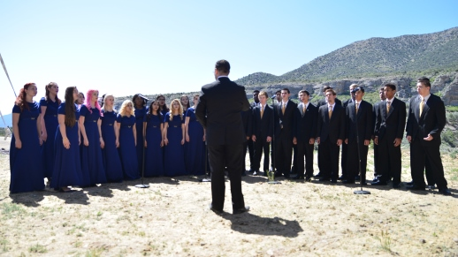 "The Cheyenne High School Madrigals sang ��America the Beautiful"" and ""Stars and Stripes Forever"" during the grand opening program."