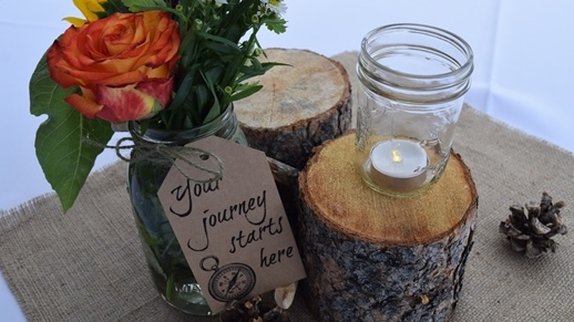 "Centerpieces made by local senior citizens groups depicted the site's slogan: ""Your journey starts here."""