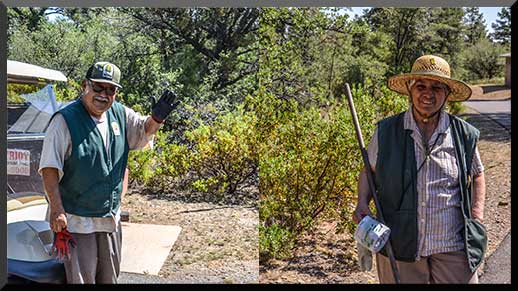 Volunteers Raul and Amalia greet visitors, answer questions, and keep the campground clean!