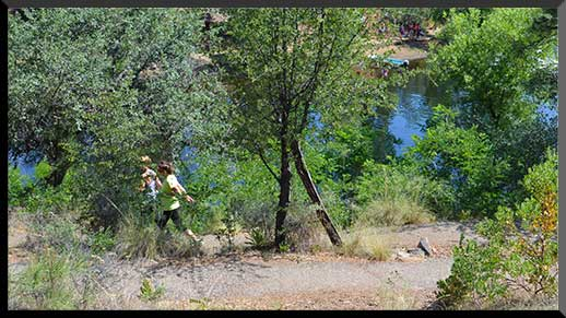 Hikers pass below the campground on Trail #311.