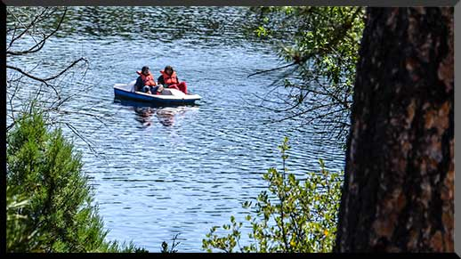 Visitors explore the lake with rented boats from Lynx Lake Store & Marina