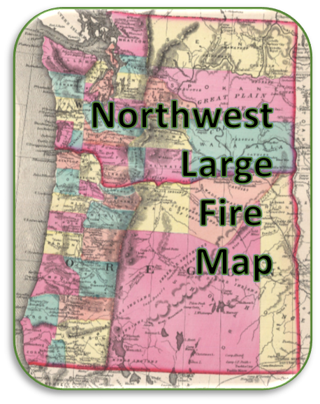 Map of Washington and Oregon used as a icon for northwest large fires website.