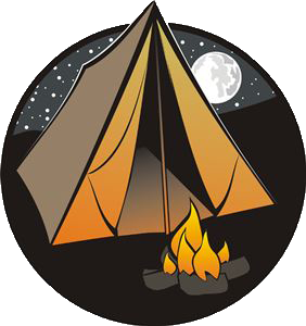 Tent with campfire in front and stars and the moon behind