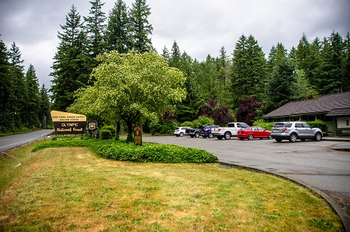 View of Hood Canal Ranger Station and parking area
