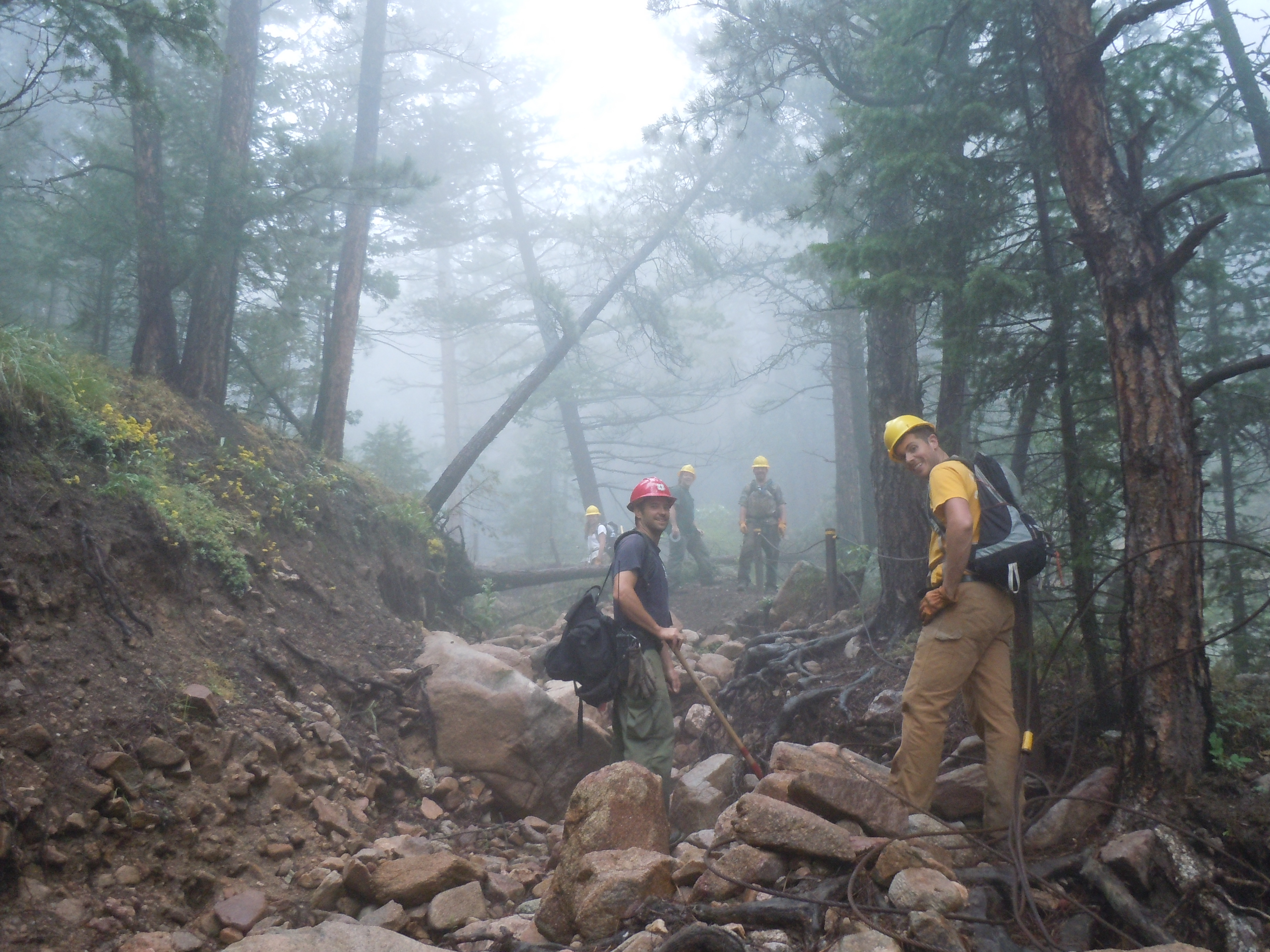 Boulder County Flood Crew in Lefthand OHV Area, assessing flood damage to FR 286E Upper Carnage.