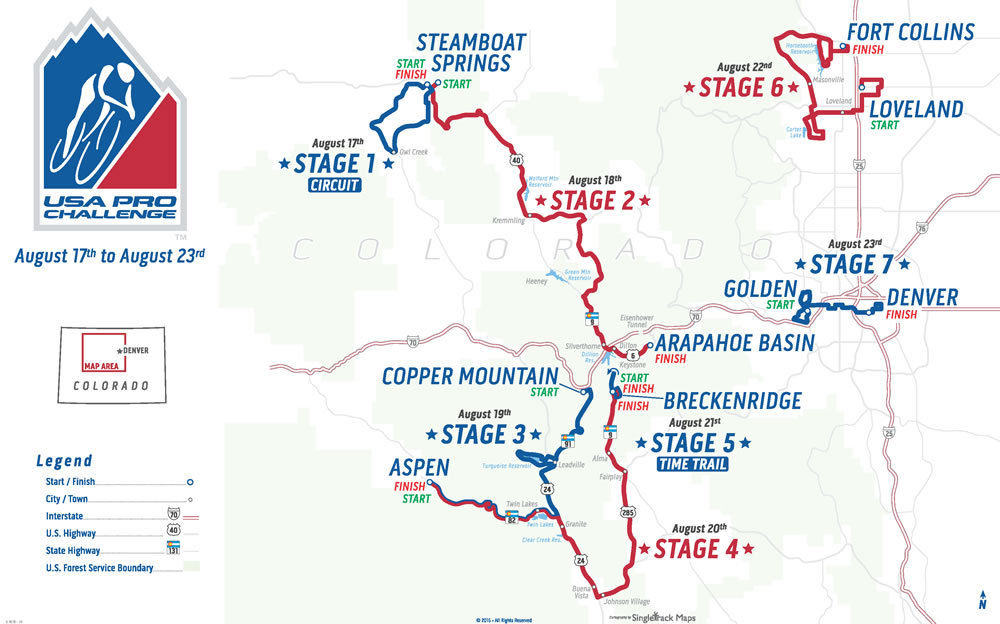 Route map of the 2015 USA Pro Challenge bicycle race in Colorado and link to the USA Pro Challenge website