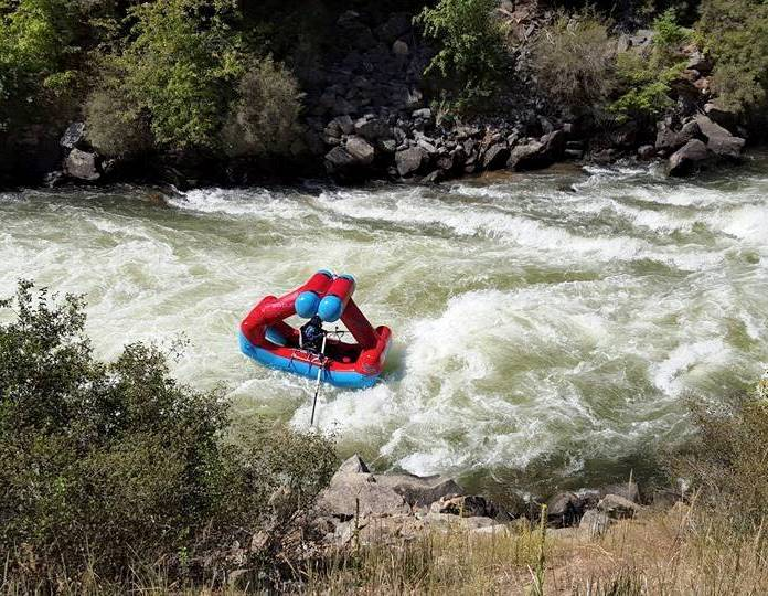 New kind of raft for very fast water shaped like a triangle