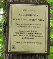 Forest Protect Area sign identifies fragile areas on the forest.