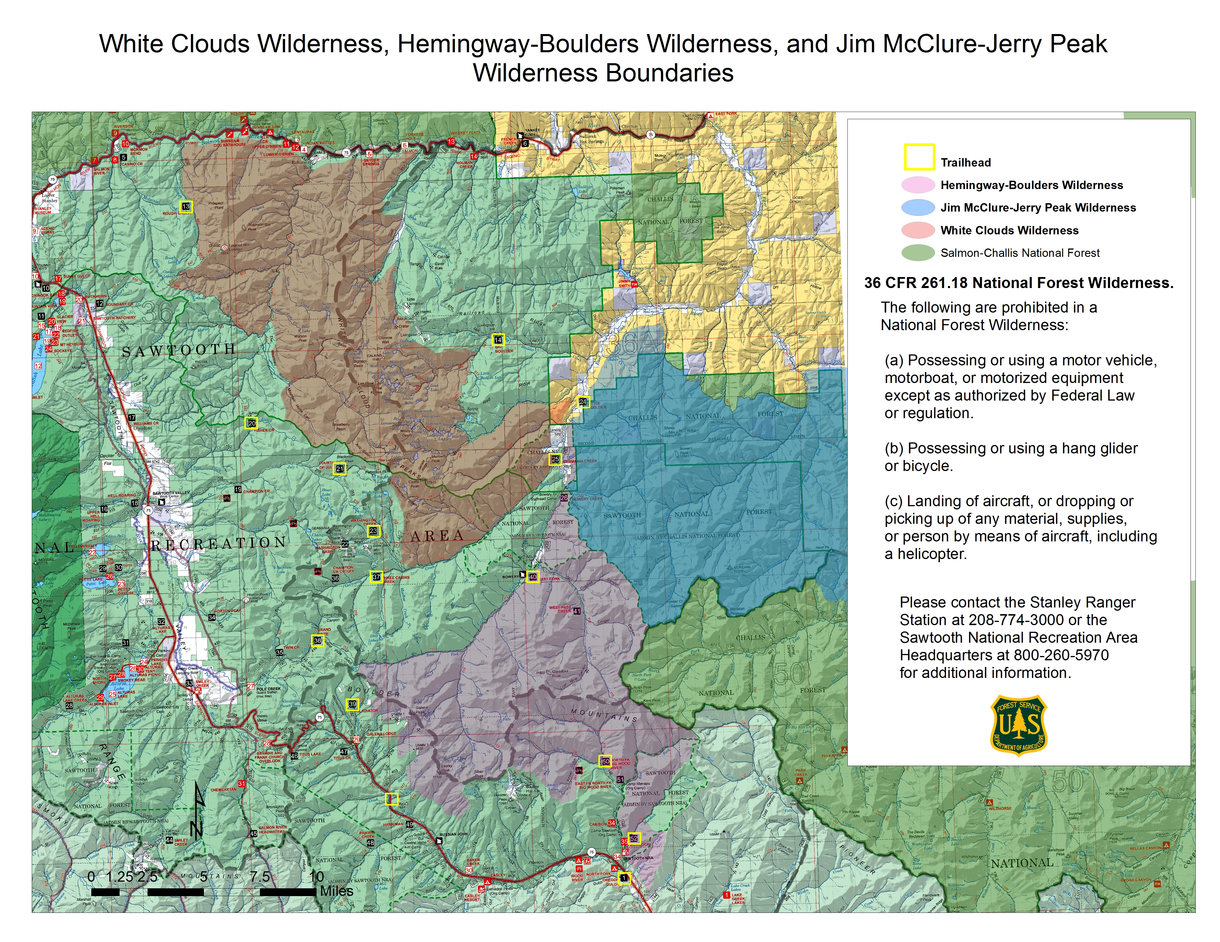 Map showing the wilderness boundarys and trailheads