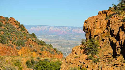 View of the red rocks of Sedona seen from Highway 89A on Mingus Mountain.