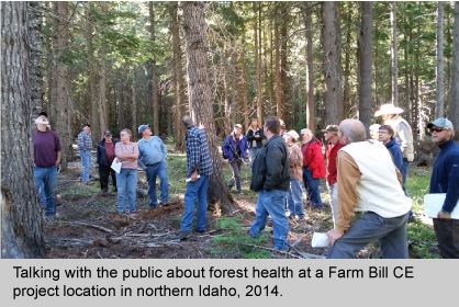Dave Cobb, a silviculturist on the IPNF, discusses Forest Health with a group of the public