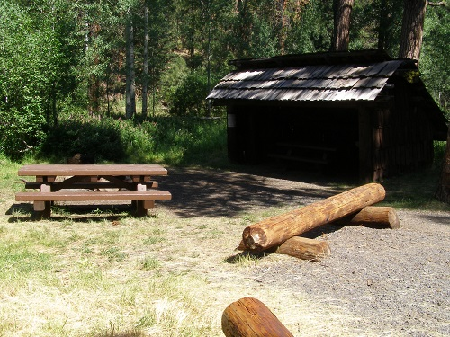 Picnic shelter and picnic table at Happy Camp