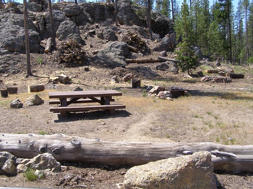 Campsite in an open setting with a picnic table.