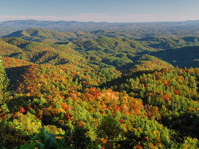 Fall color over the mountains