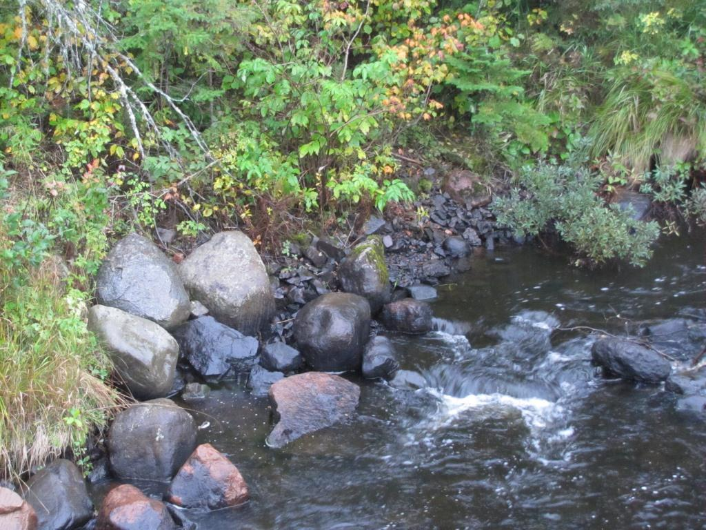 Rocks make a small rapids in the Poplar River during the fall.