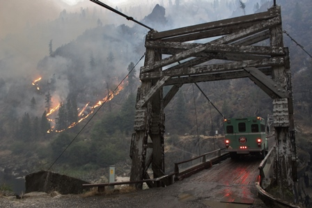 Photo of firefighters crossing the Manning Bridge