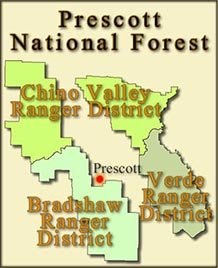 Map of the Prescott National Forest showing Bradshaw, Chino Valley, and Verde Ranger Districts