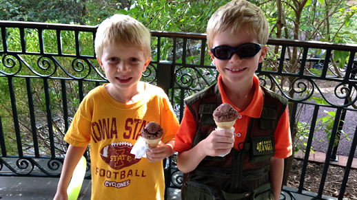 Two boys enjoying the ice cream social
