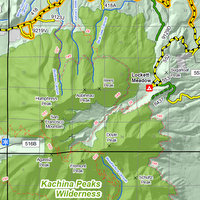 Detail view of the Travel Map showing the San Francisco Peaks area