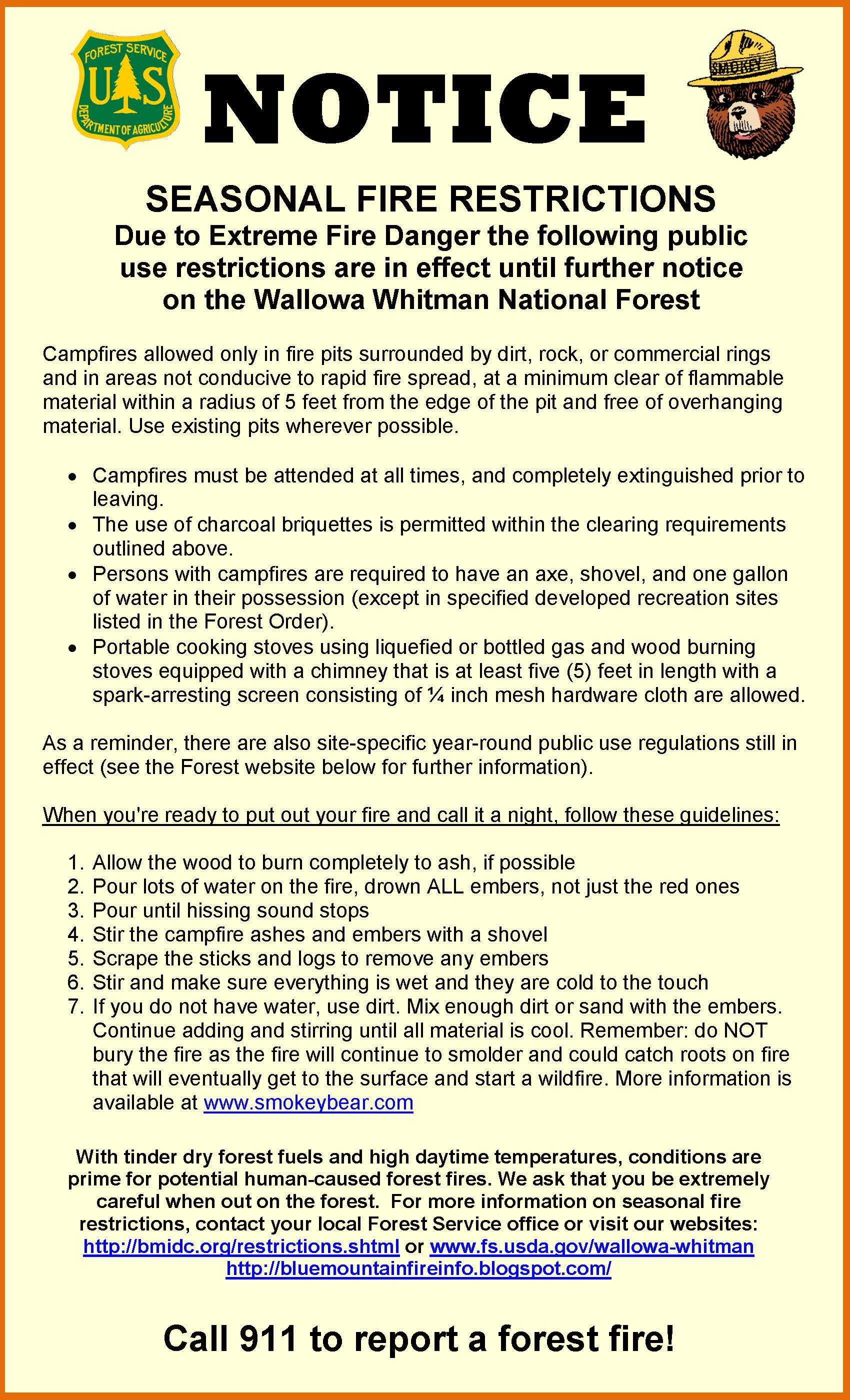 Seasonal Fire Restrictions